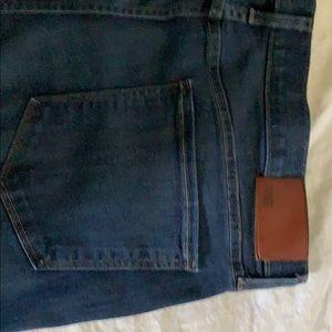 Paige size 38 dark denim & grey jeans.